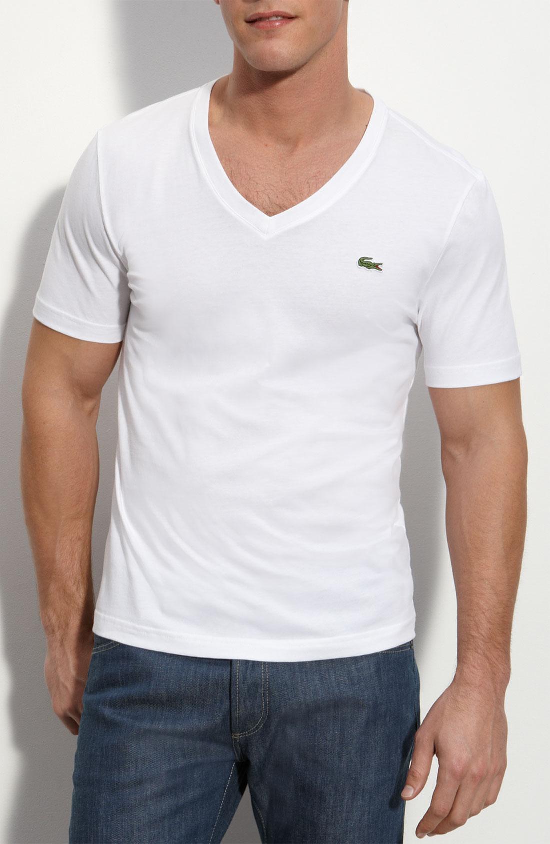 lacoste trim fit jersey v neck t shirt in white for men lyst. Black Bedroom Furniture Sets. Home Design Ideas
