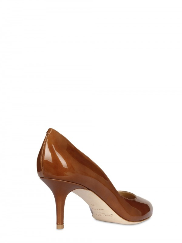 bb265994057 Lyst - Jimmy Choo 65mm Irena Metallic Patent Leather Pumps in Brown