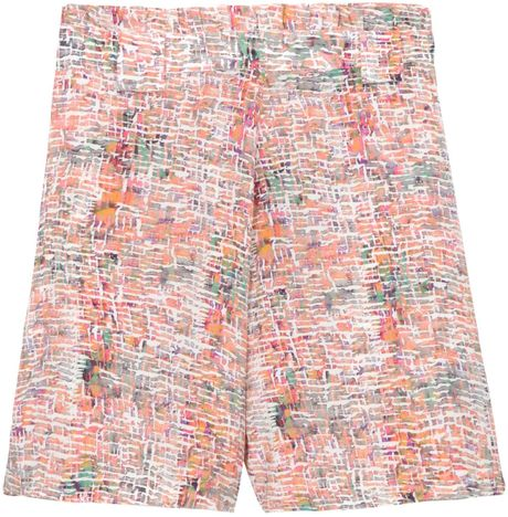 Saloni Mimi Frilled Shibori Shorts in Multicolor