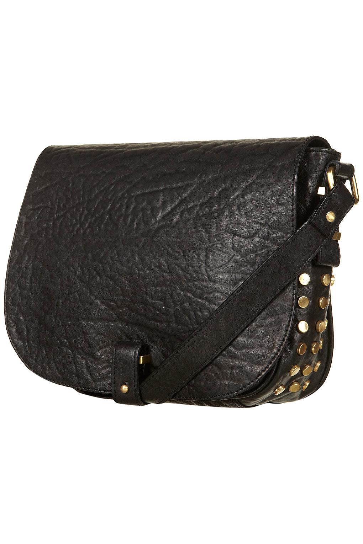 Lyst Topshop Black Leather Stud Crossbody Bag In Black