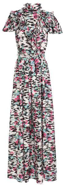 Balenciaga Printed Silk Twill Column Dress in Multicolor (multi)