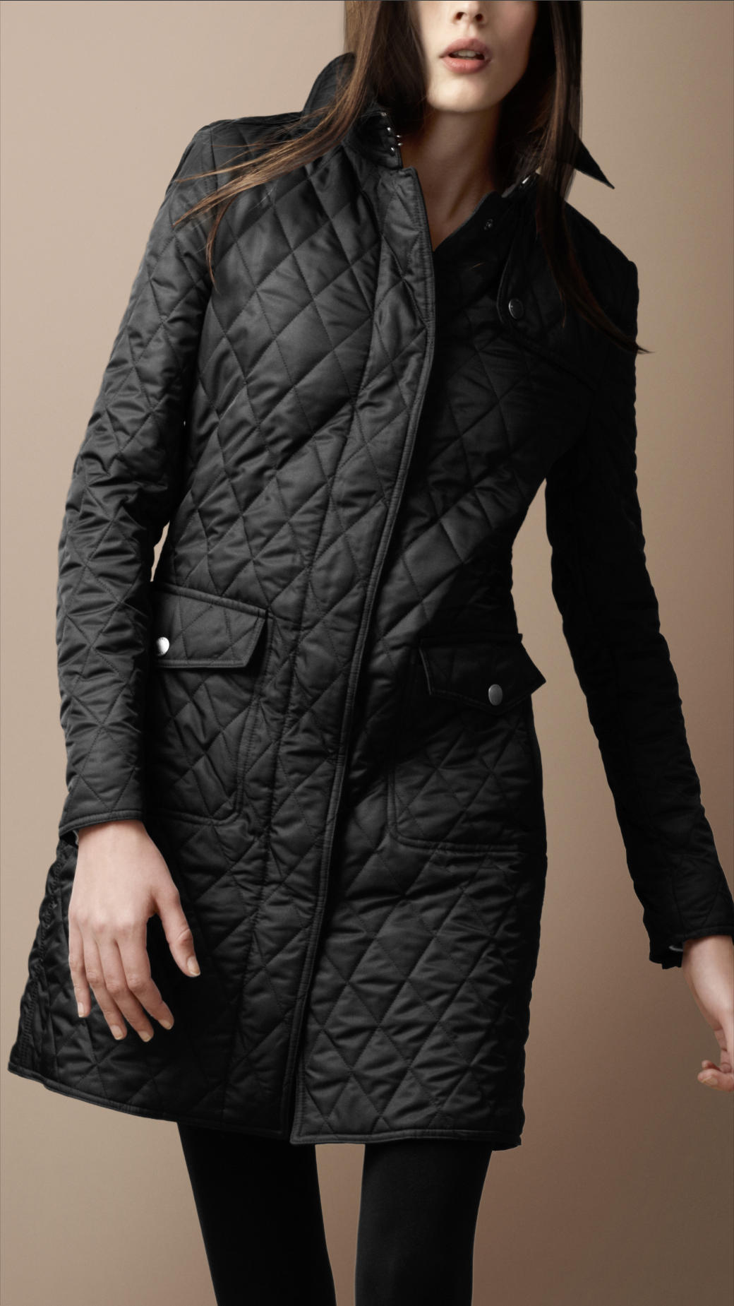 Lyst Burberry Brit Diamond Quilted Trench Coat In Black
