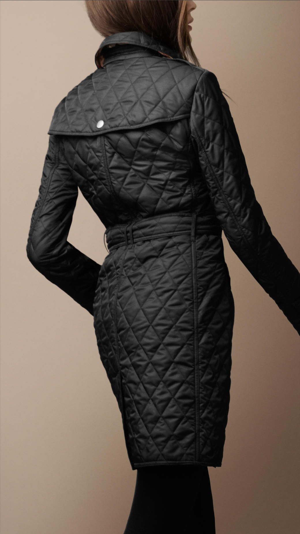 Burberry Brit Diamond Quilted Trench Coat In Black Lyst