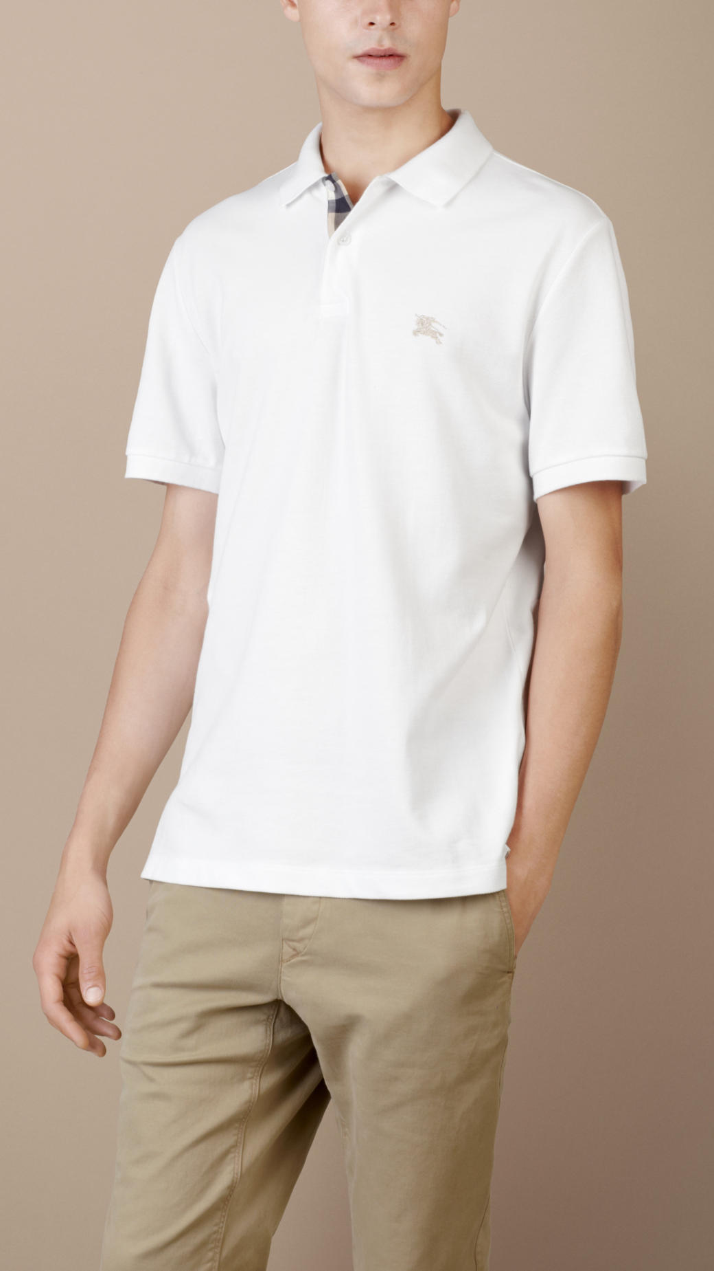c71ade3851f1b Burberry Check Placket Polo Shirt in White for Men