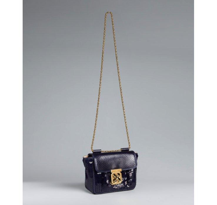 Chlo�� Navy Sequin and Python Elsie Square Mini Shoulder Bag in ...
