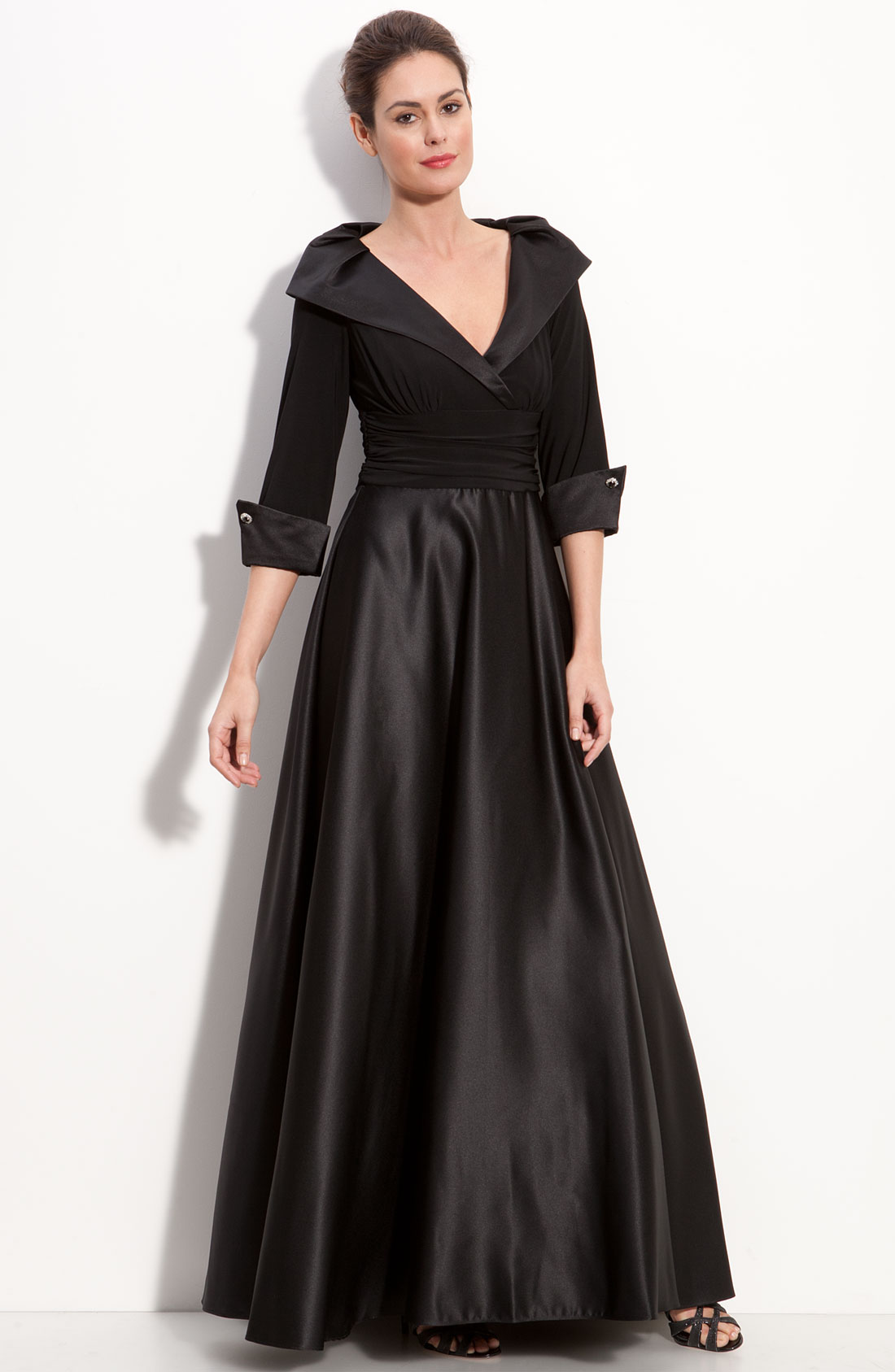 Eliza J Jersey Amp Satin Portrait Collar Gown In Black Lyst