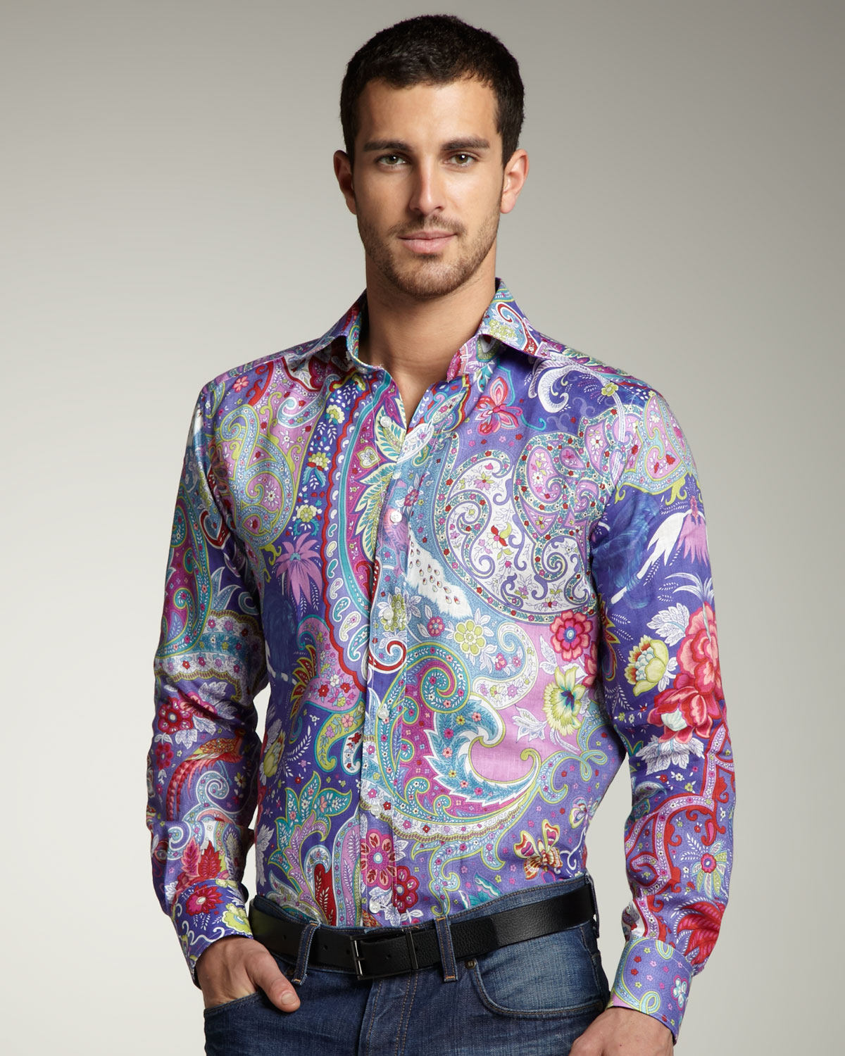 lyst etro paisley linen shirt for men