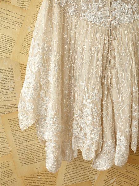Free People Vintage Custom Beaded Dress In White Lyst