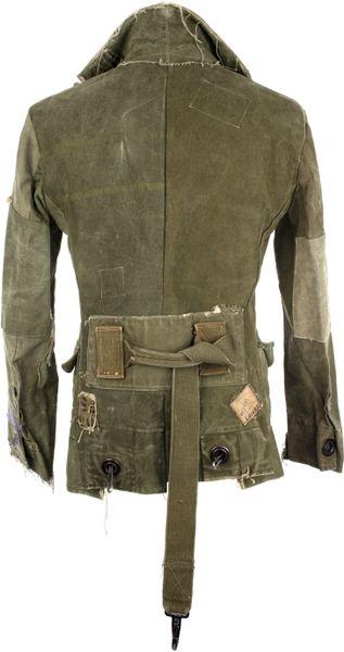 Greg Lauren Vintage Military Canvas Blazer Jacket In Green