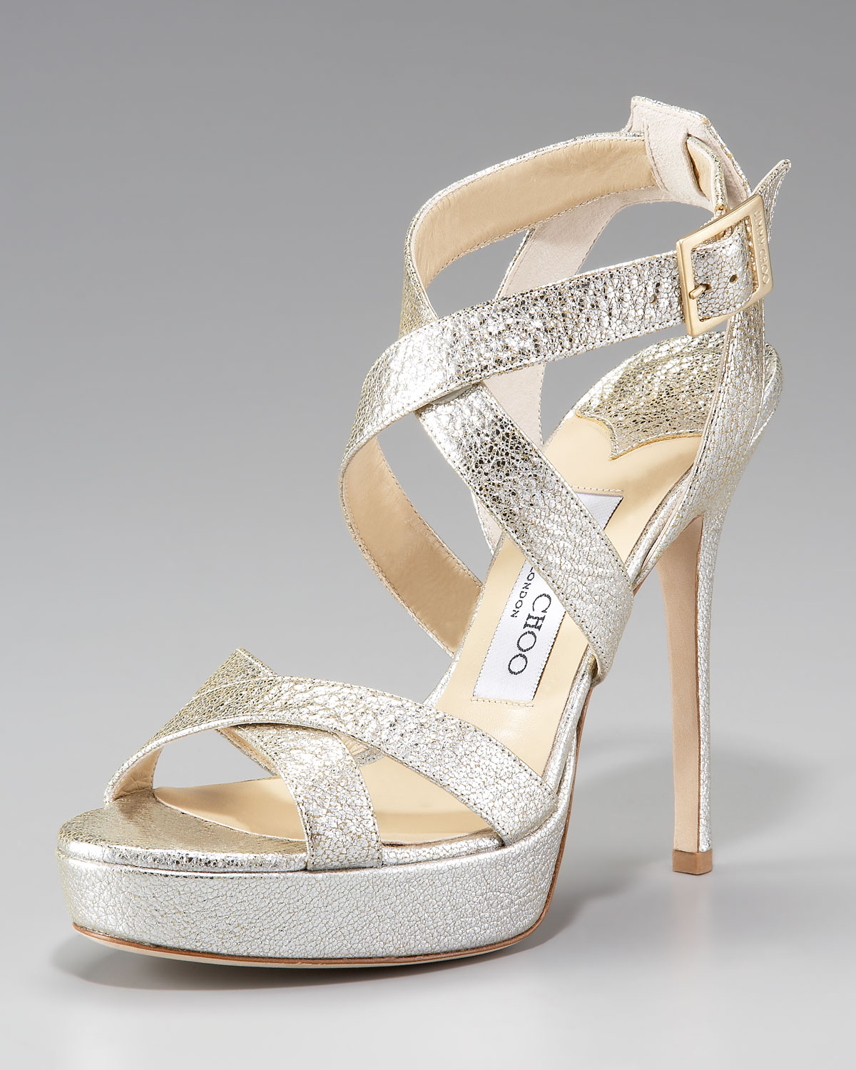 a51feb2b9d7 Lyst - Jimmy Choo Vamp Crushed Metallic Platform Sandal in Metallic
