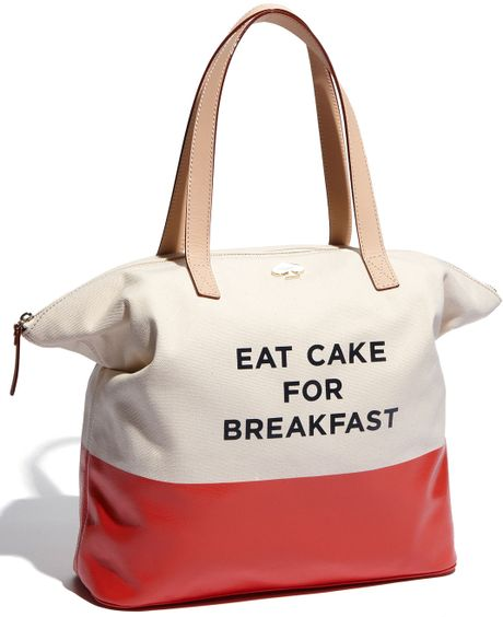 Kate Spade Call To Action - Terry Tote in Beige (eat cake for breakfast) - Lyst