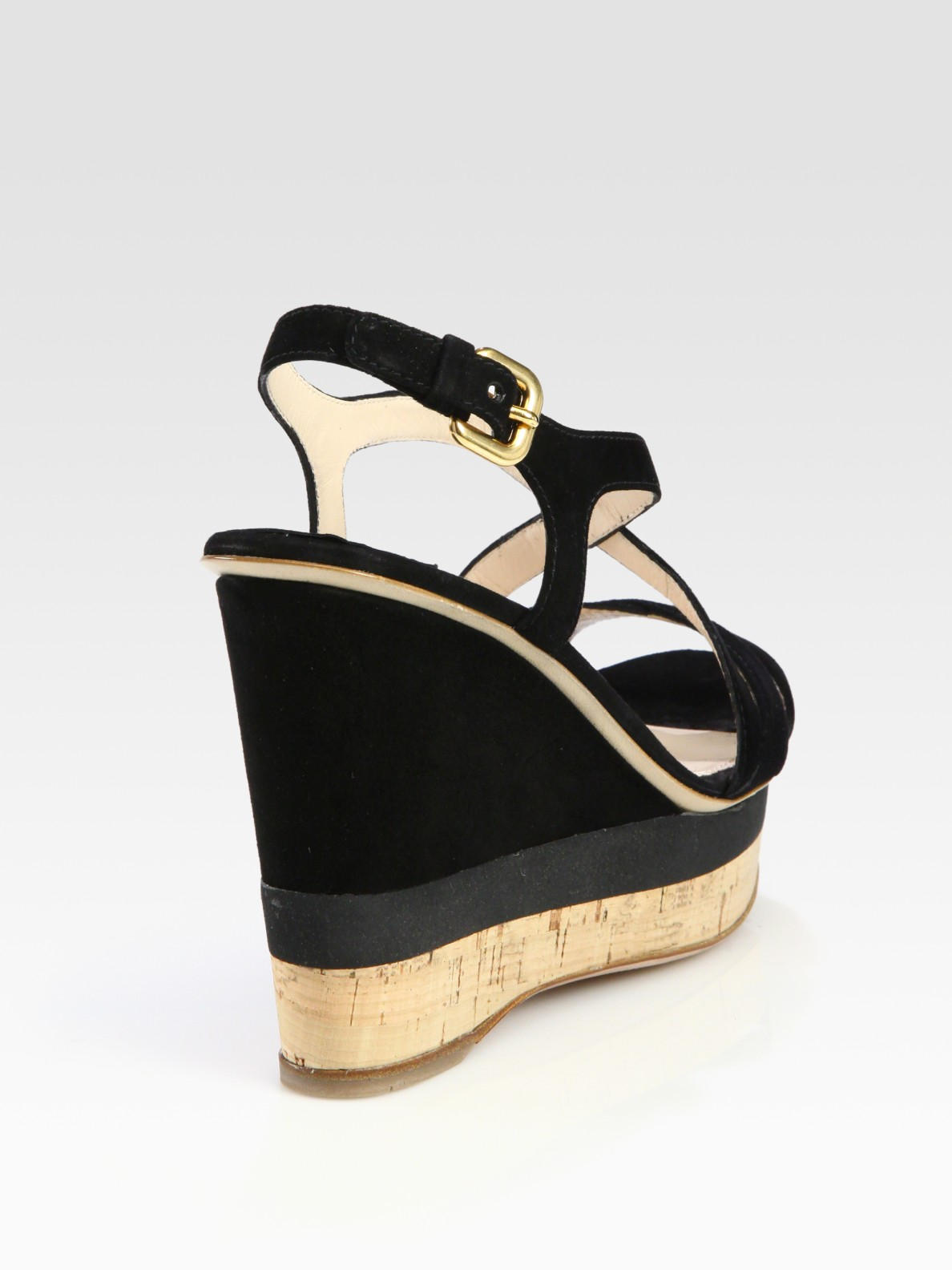 Prada Crossover Patent Leather Wedges free shipping 100% authentic cost for sale really sale online outlet amazon A1SwlGNZs