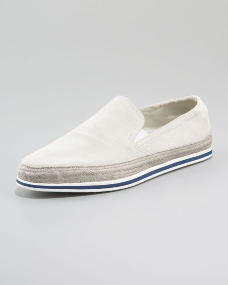 prada suede slip on shoe in white lyst