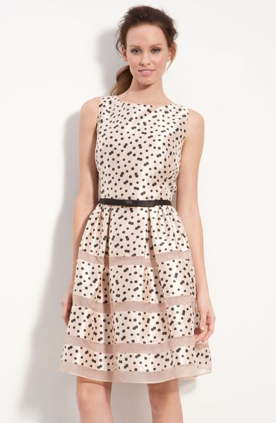 Taylor Dresses Belted Taffeta Fit and Flare Dress in Pink (black/ blush)