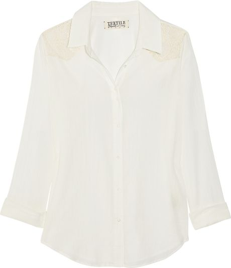 Textile Elizabeth And James Austin Cotton-Voile And Lace Shirt in White (ivory)