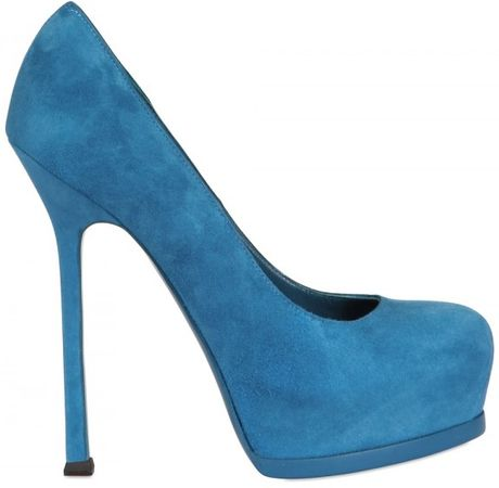 Saint Laurent 140mm Tribtoo Suede Pumps in Blue