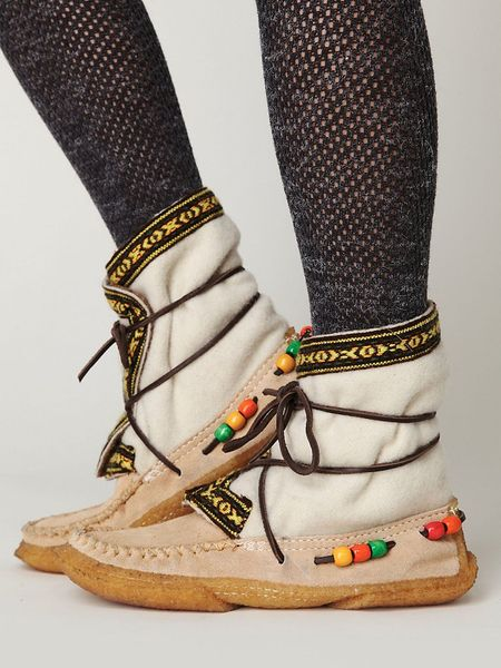 Free People Alaskan Cree Boot in White (white wool with beige suede) - Lyst