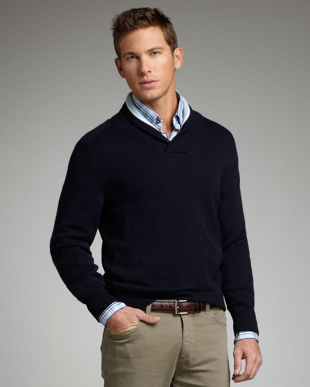 Ermenegildo zegna shawl collar sweater in blue for men lyst for Mens sweater collared shirt