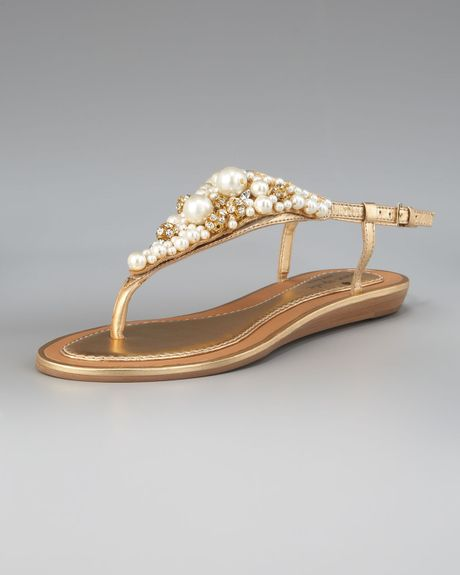 Kate Spade Imani Bead & Crystal Thong Sandal in Gold (old gold) - Lyst
