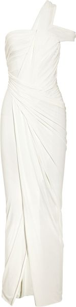 Donna Karan New York Draped Stretch Crepe-jersey Gown in White