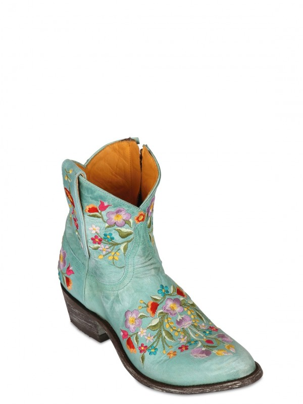 f6a72db34a0bf Mexicana 40mm Leather Embroidered Floral Boots in Blue - Lyst