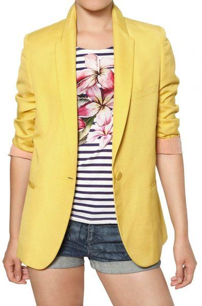 Stella Mccartney Dry Slub Viscose Twill Jacket in Yellow - Lyst