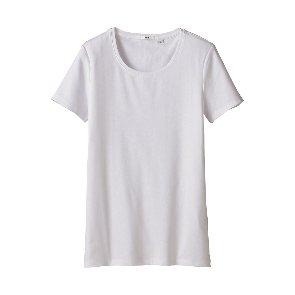 Uniqlo cotton crew neck short sleeve t shirt in white lyst for Uniqlo premium t shirt