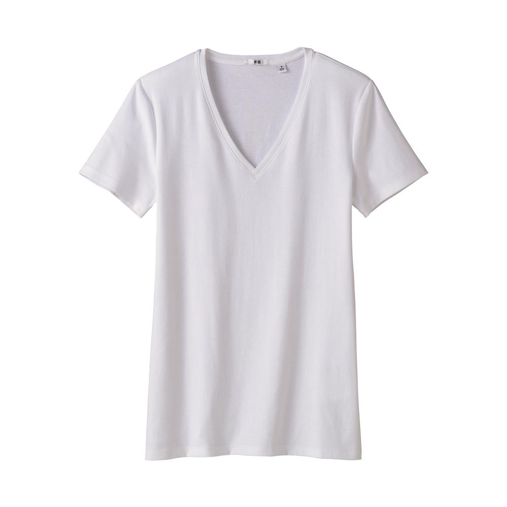 uniqlo premium cotton short sleeve v neck t shirt in white ForUniqlo Premium T Shirt