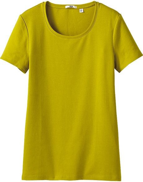 Uniqlo cotton crew neck short sleeve t shirt in yellow lyst for Uniqlo premium t shirt