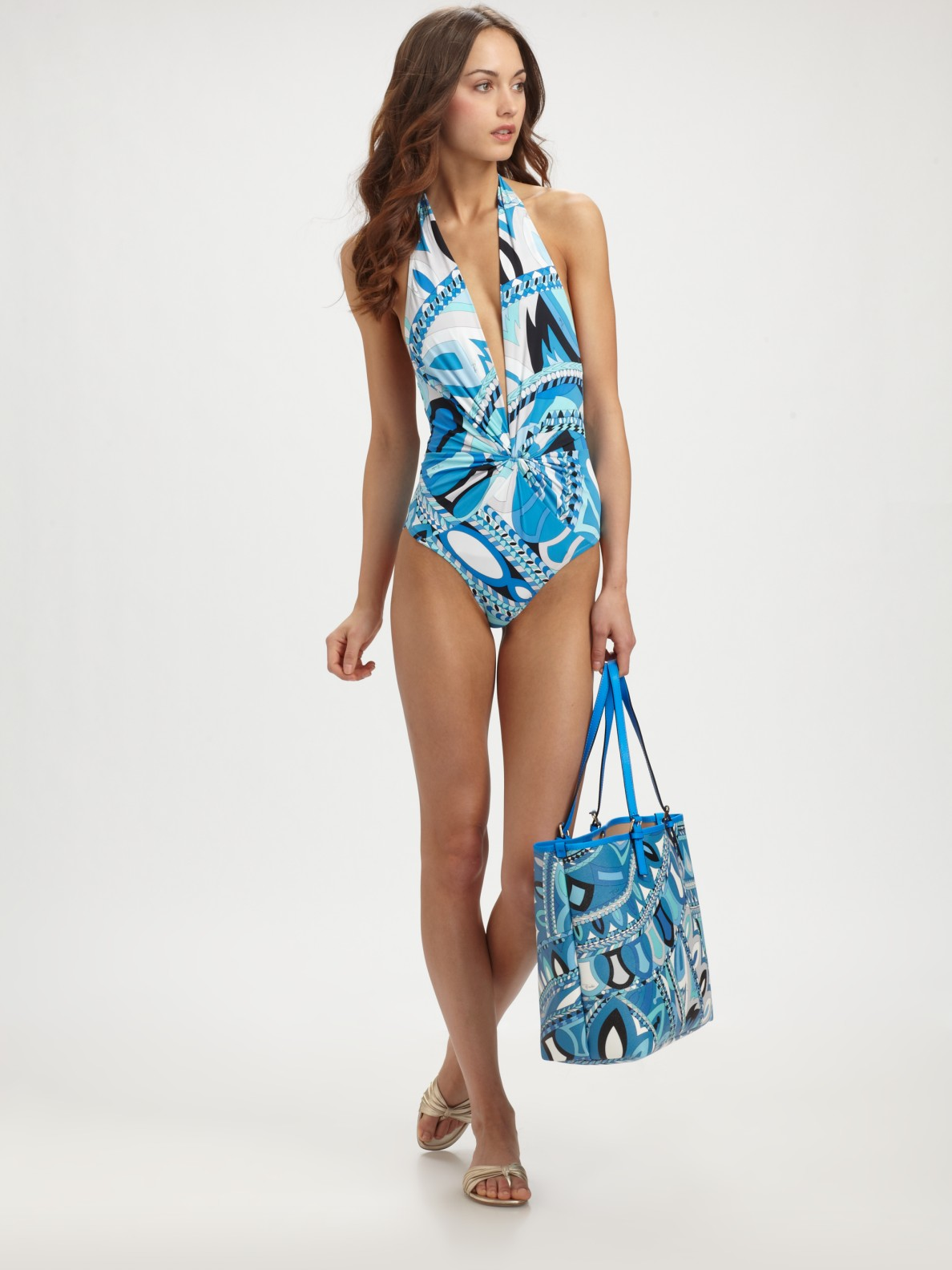 8301fd2365 Emilio Pucci One-piece Deep-plunge Swimsuit in Blue - Lyst