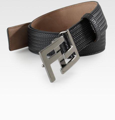 Fendi Minitreccia Leather Belt in Black for Men  fbccf65b5008c