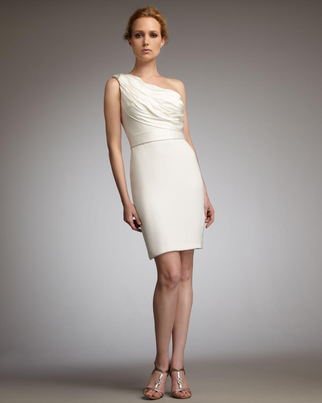 White one shoulder dresses cocktail