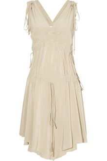 Bally Gathered Silk Crepe De Chine Dress - Lyst