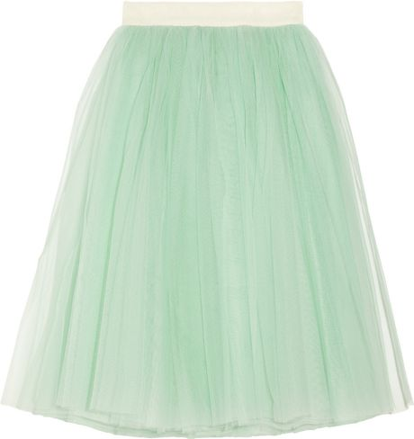 D&g Layered Tulle Midi Skirt in Green (mint)