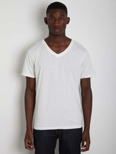 Nudie Jeans Mens Wide Neck T Shirt In White For Men Lyst