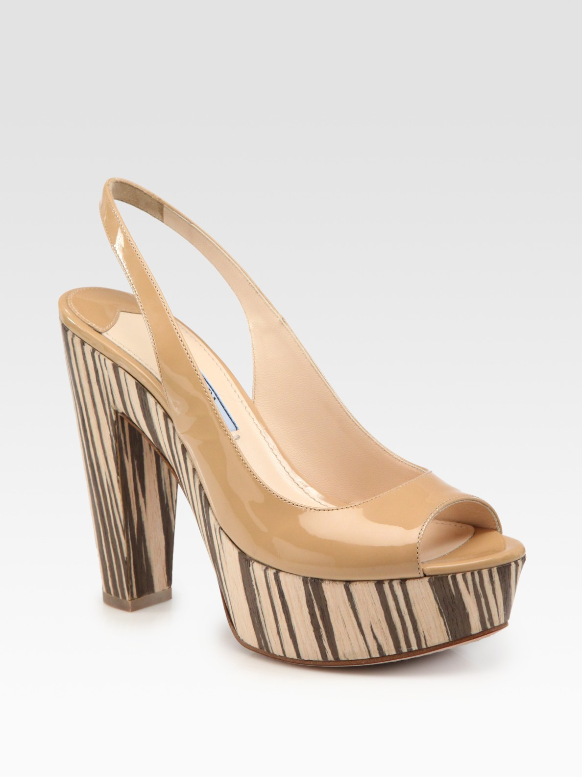 15733f545e5 Lyst - Prada Patent Leather and Wood Slingback Sandals in Natural
