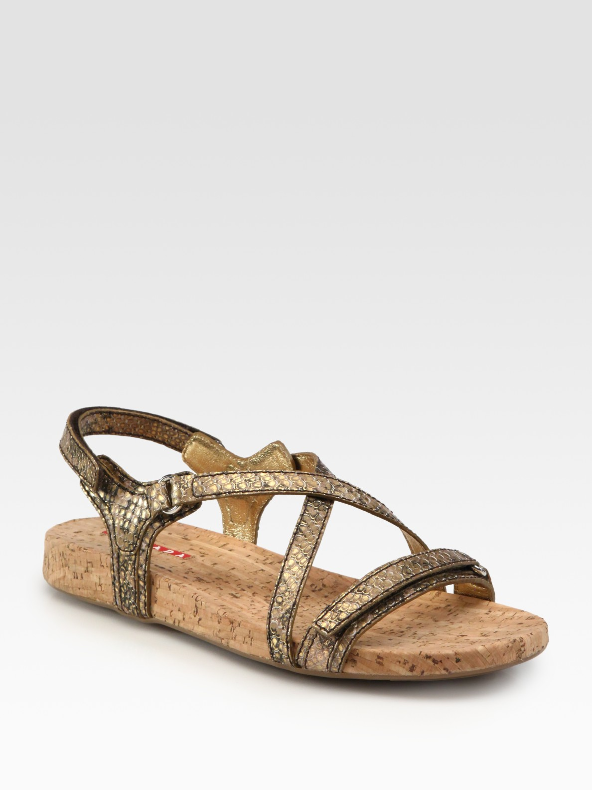 Prada Stamped Python And Cork Flat Sandals In Gold Lyst