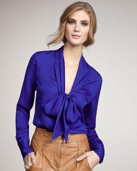 zoe natalie tie neck blouse blue in blue