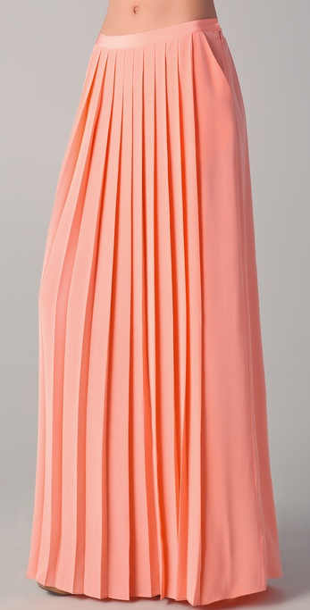 Tibi Maxi Pleated Skirt in Pink | Lyst
