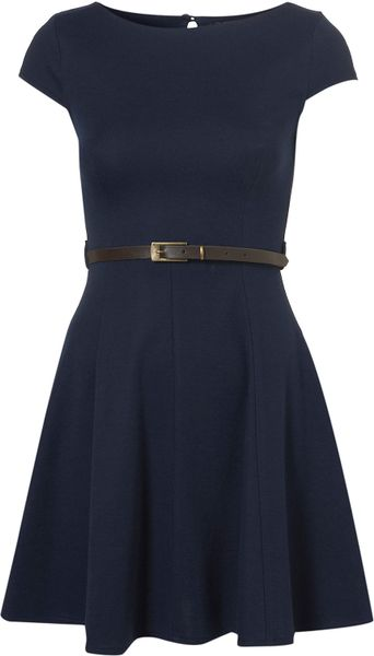 Topshop Plain Sleeveless Dress By Rare in Blue (navy blue ...
