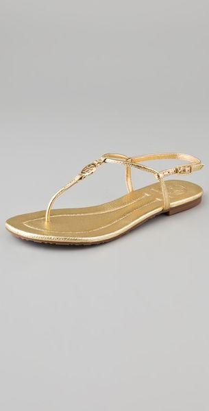 961653ba9 Tory Burch Gold Flat Sandals ~ Gold Sandals