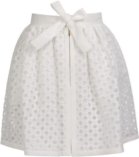 Fendi Laser-cut Cotton-silk Lattice Skirt in White