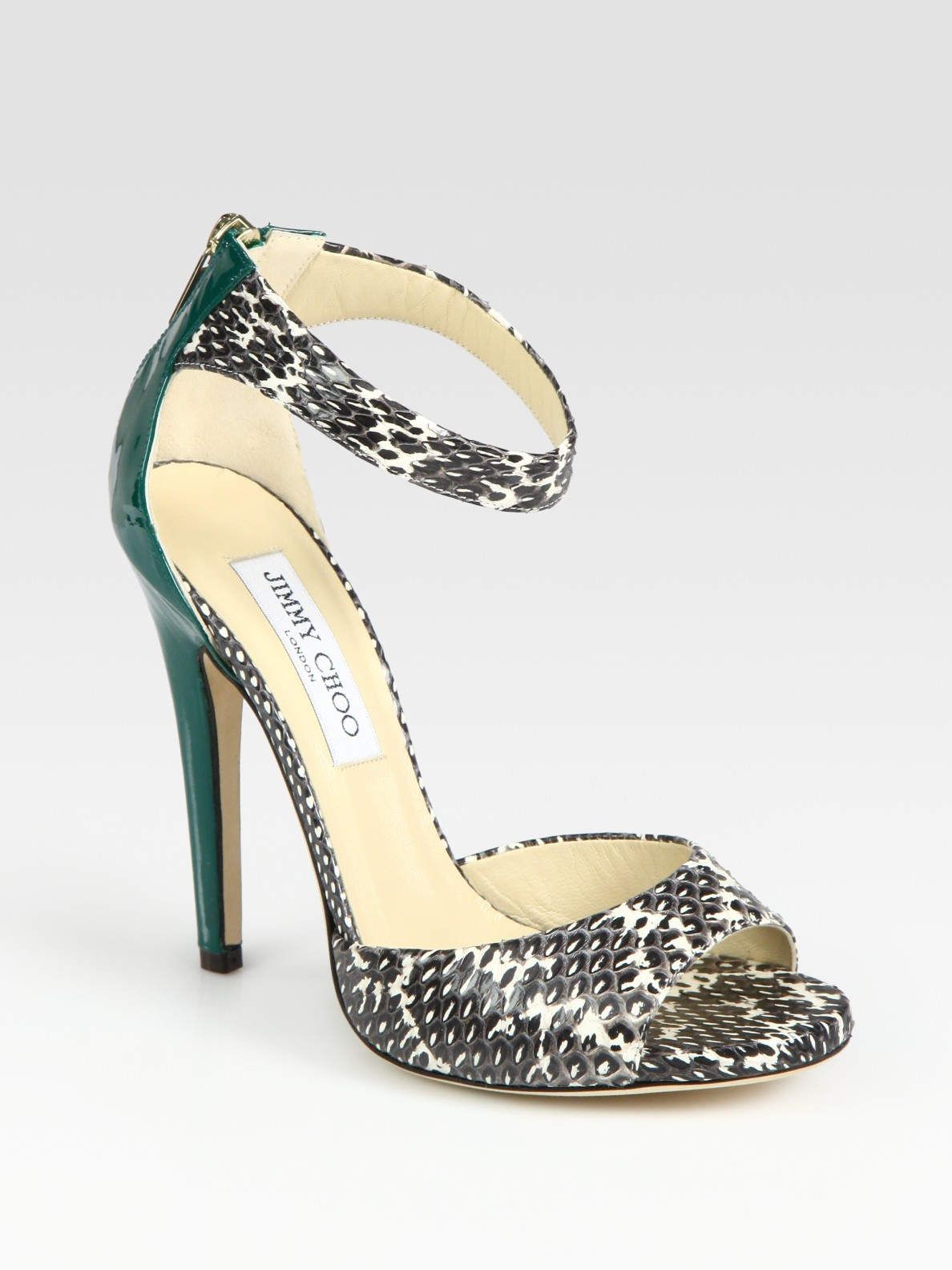 2757b8d454d Lyst - Jimmy Choo Trinity Snakeskin and Patent Leather Sandals in Brown