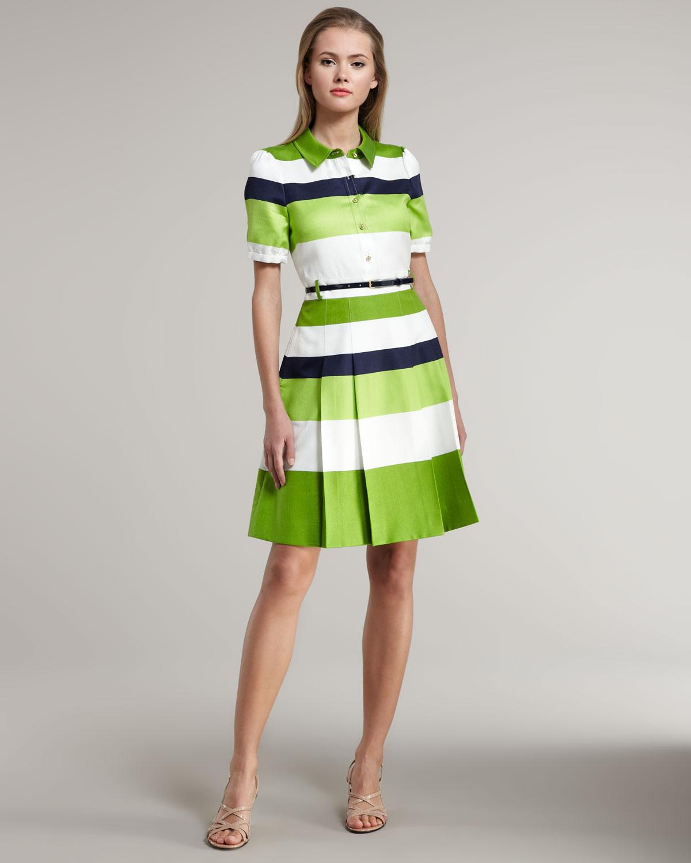 Kate Spade Jeanette Striped Dress In Green Green Cream