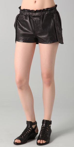 Rebecca Minkoff Leather Shorts Mika in Black - Lyst