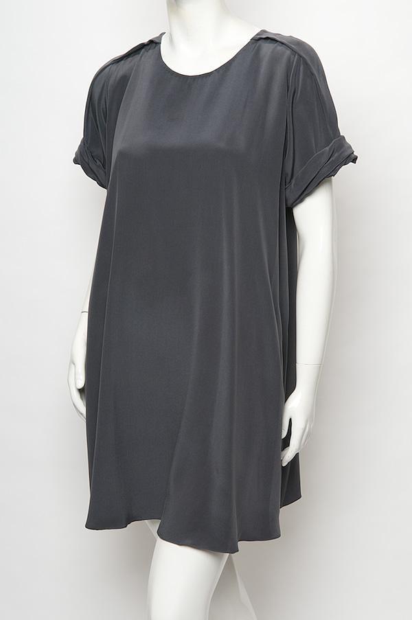 Lyst 3 1 phillip lim pleat shoulder t shirt dress in black for Black pleated dress shirt