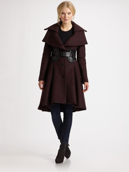 Mackage Leather Belted Wool Coat In Black Lyst