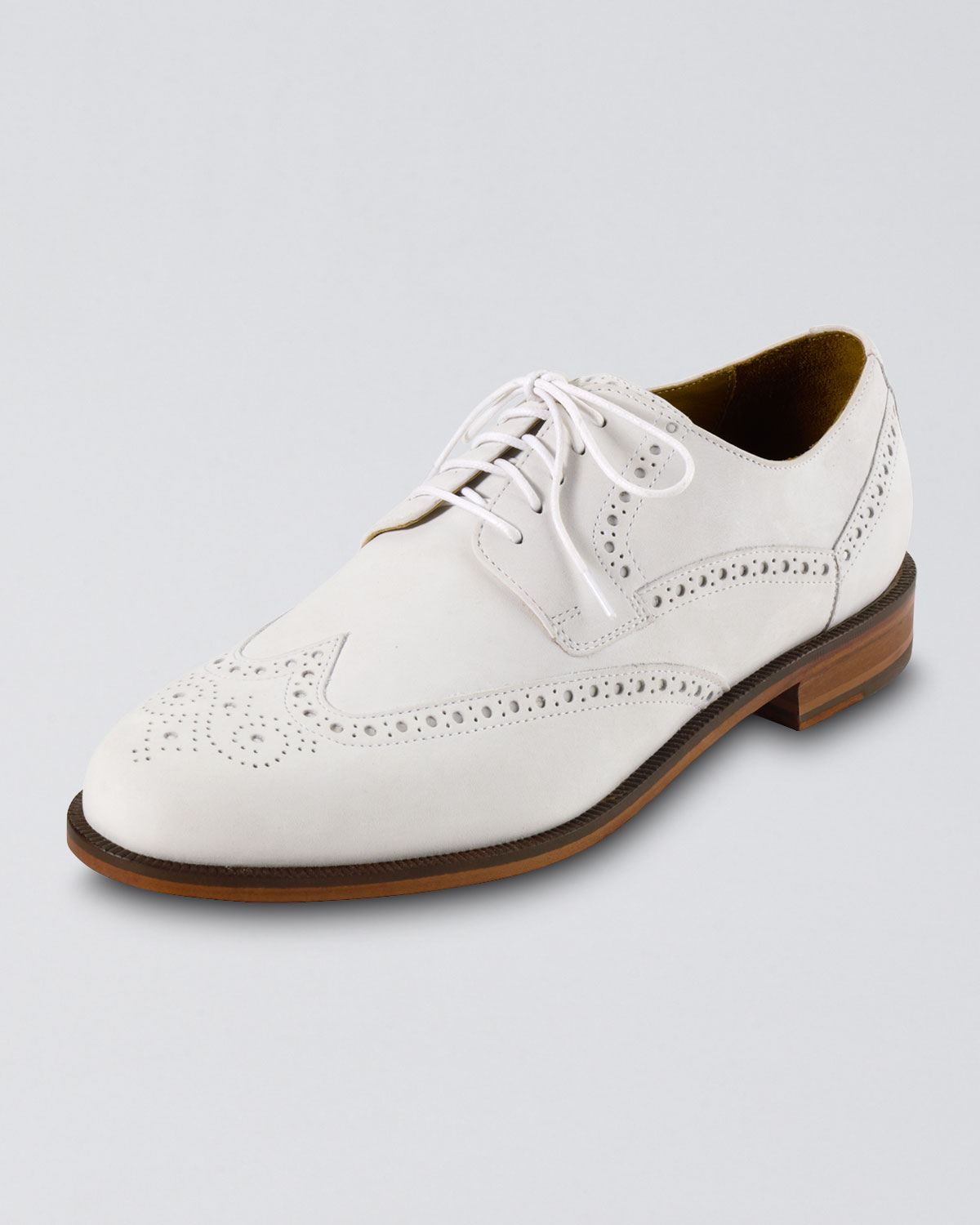 cole haan nubuck wing tip in white for lyst