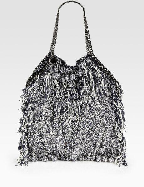 Crochet Fringe Bag : Stella Mccartney Fringed Crochet Bag in Gray (ink) Lyst