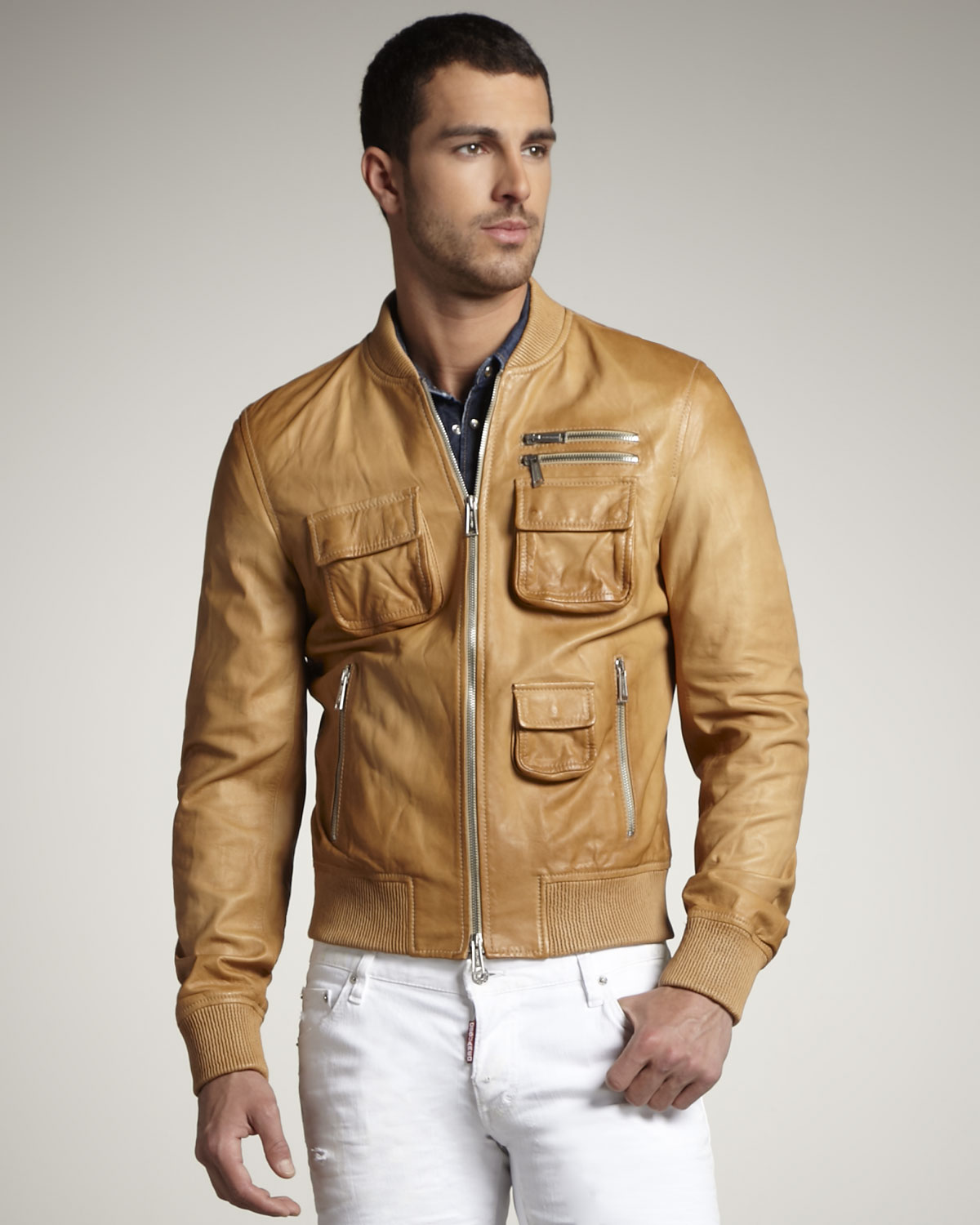 Dsquared² Leather Bomber Jacket in Natural for Men | Lyst